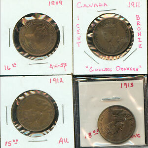 CANADA 4 LARGE CENTS 1909   1913  3G195