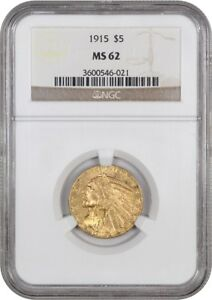 1915 $5 NGC MS62   INDIAN HALF EAGLE   GOLD COIN   LUSTROUS ORIGINAL GOLD
