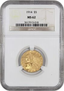 1914 $5 NGC MS62   INDIAN HALF EAGLE   GOLD COIN   MEDIUM LUSTER