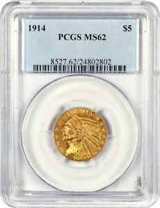 1914 $5 PCGS MS62   INDIAN HALF EAGLE   GOLD COIN   MEDIUM LUSTER