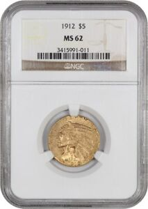 1912 $5 NGC MS62   INDIAN HALF EAGLE   GOLD COIN   SUBDUED LUSTER