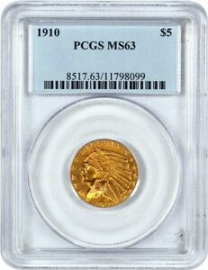 1910 $5 PCGS MS63   INDIAN HALF EAGLE   GOLD COIN   BETTER STRUCK