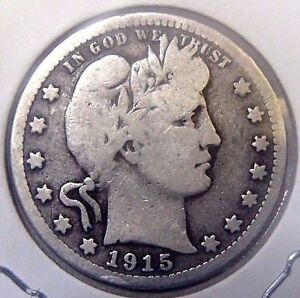 1915 S BARBER QUARTER DOLLAR COIN NICE CIRCULATED COIN WITH FULL RIMS 2