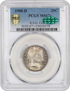 Click now to see the BUY IT NOW Price! 1908 D 25C PCGS/CAC MS67  TIED FOR FINEST KNOWN   BARBER QUARTER