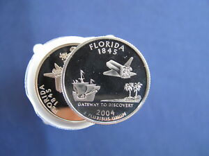 Click now to see the BUY IT NOW Price! 2004 S FLORIDA STATEHOOD SILVER QUARTER PROOF ROLL OF 40 COINS