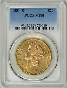 1884 S  $20 GOLD LIBERTY  PCGS  MS61     BETTER DATE     36289019