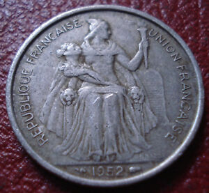 1952 NEW CALEDONIA 5 FRANCS IN FINE VF CONDITION