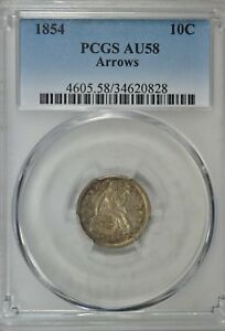 1854 SEATED DIME WITH ARROWS PCGS AU58