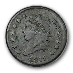 1812 1C SMALL DATE CLASSIC HEAD CENT FINE VF US TYPE COIN R1024
