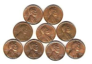 9 VF  UNC US PENNIES PENNY 1959 1963D 1960D 1971 1972 LINCOLN  LOT FREE MAIL AM