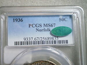 1936 NORFOLK HALF DOLLAR MS67 PCGS CAC/ TONING  SIMPLY THE BEST     FREE SHIP