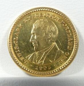 1905 LEWIS AND CLARK EXPOSITION COMMEMORATIVE GOLD $1 ALMOST UNC/UNC