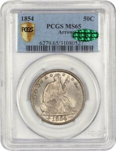 Click now to see the BUY IT NOW Price! 1854 50C PCGS/CAC MS65  ARROWS  DESIRABLE 2 YEAR TYPE COIN ISSUE