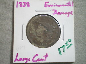1838 CORONET HEAD LARGE CENT/ ENVIRONMENTAL DAMAGE  REDUCED SHIPPING