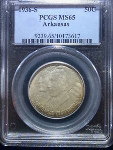 1936 S ARKANSAS SILVER COMMEMORATIVE HALF DOLLAR 50 CENTS PCGS MS65 COIN