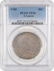1795 50C PCGS VF20  2 LEAVES  DESIRABLE 2 YEAR TYPE COIN   BUST HALF DOLLAR