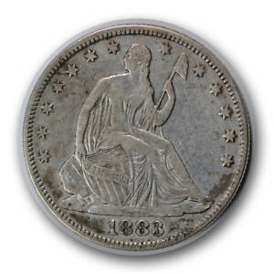 1883 50C LIBERTY SEATED HALF DOLLAR FINE TO EXTRA FINE CLEANED R624