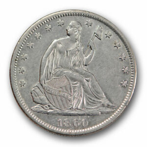 1860 S 50C LIBERTY SEATED HALF DOLLAR ABOUT UNCIRCULATED TO MINT STATE R1463