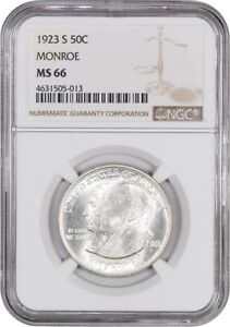 1923 S MONROE 50C NGC MS66   FROSTY UNUSUALLY WHITE    FROSTY UNUSUALLY WHITE