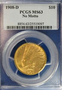 Click now to see the BUY IT NOW Price! 1908 D $10 GOLD INDIAN US COIN PCGS NO MOTTO MS63 TOUGHER COIN [097]  G