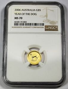 2006 NGC MS 70 AUSTRALIA YEAR OF THE DOG 1/20 OZ .9999 FINE GOLD