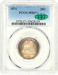 Click now to see the BUY IT NOW Price! 1871 25C PCGS/CAC MS67    LIBERTY SEATED QUARTER   ONLY ONE FINER