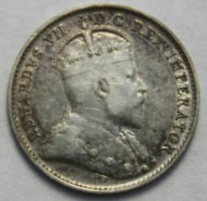 CANADA 1903H SILVER 5 CENTS SMALL H CLASSIC TONING OLD DATE KING EDWARD VII