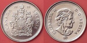 BRILLIANT UNCIRCULATED 2010 CANADA 50 CENTS FROM MINT'S ROLL