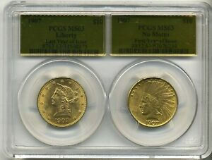 1907 $10 GOLD NO MOTTO INDIAN  $10 LIBERTY EAGLE PCGS MS63 SPECIAL HOLDER