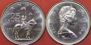 BRILLIANT UNCIRCULATED 1973 CANADA COMMEMORATIVE 25 CENTS FROM MINT'S ROLL