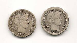 LOT OF 2 BARBER DIMES : 1916 1916 S