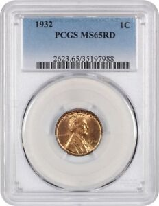 1932 1C PCGS MS65 RD   LINCOLN CENT