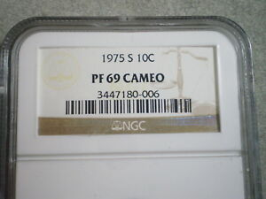 1975 S ROOSEVELT DIME PF69 CAMEO NGC   SPECIAL