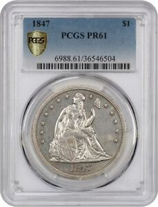 1847 $1 PCGS PR 61   MINTAGE OF 15    LIBERTY SEATED DOLLAR   MINTAGE OF 15