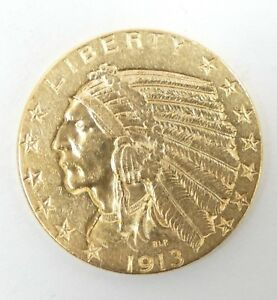 1913 GOLD INDIAN HEAD HALF EAGLE $5 COIN ALMOST UNCIRCULATED