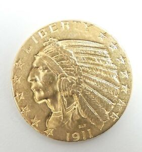 1911 GOLD INDIAN HEAD HALF EAGLE $5 COIN ALMOST UNCIRCULATED