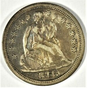 Click now to see the BUY IT NOW Price! 1858 SEATED LIBERTY SILVER DIME WITH STARS OBV  B514.59