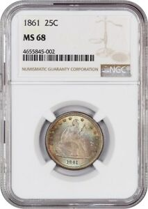 Click now to see the BUY IT NOW Price! 1861 25C NGC MS68   CIVIL WAR DATE   LIBERTY SEATED QUARTER   CIVIL WAR DATE