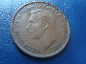 VINTAGE GREAT BRITAIN 1946 ONE PENNY LAMINATION ERROR COIN