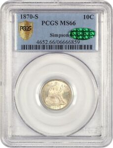 Click now to see the BUY IT NOW Price! 1870 S 10C PCGS/CAC MS66   TIED FOR FINEST KNOWN    LIBERTY SEATED DIME