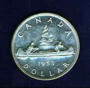 Click now to see the BUY IT NOW Price! CANADA  ELIZABETH II   1953  1 DOLLAR SILVER COIN BRILLIANT AND UNCIRCULATED