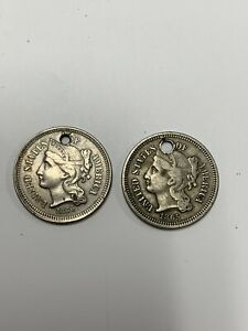 1866 1866 HOLED 3 CENT NICKELS