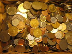 LOT OF 10 COINS FROM 10 COUNTRIES. BEST PICKED FROM POUNDS OF WORLD COINS.