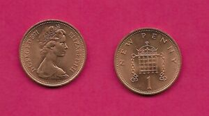 GREAT BRITAIN 1 NEW PENNY 1971 UNC CROWNED PORTOCULLIS ELIZABETH II YOUNG BUST R