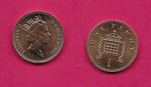 GREAT BRITAIN 1 PENNY 1991 UNC CROWNED PORTCULLIS ELIZABETH II YOUNG BUST RIGHT