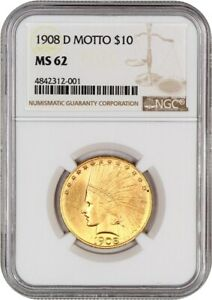 1908 D $10 NGC MS62  WITH MOTTO  INDIAN EAGLE   GOLD COIN