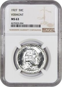1927 VERMONT 50C NGC MS63   POPULAR  ISSUE   SILVER CLASSIC COMMEMORATIVE
