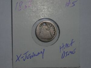 1853 SEATED LIBERTY HALF DIME 1853 P WITH ARROWS X JEWELRY PIECE LOT 5