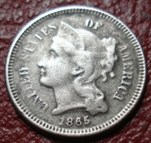1865 THREE CENT NICKEL PIECE WITH VG FINE DETAIL
