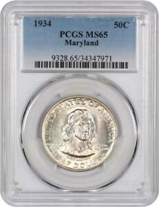 1934 MARYLAND 50C PCGS MS65   SILVER CLASSIC COMMEMORATIVE